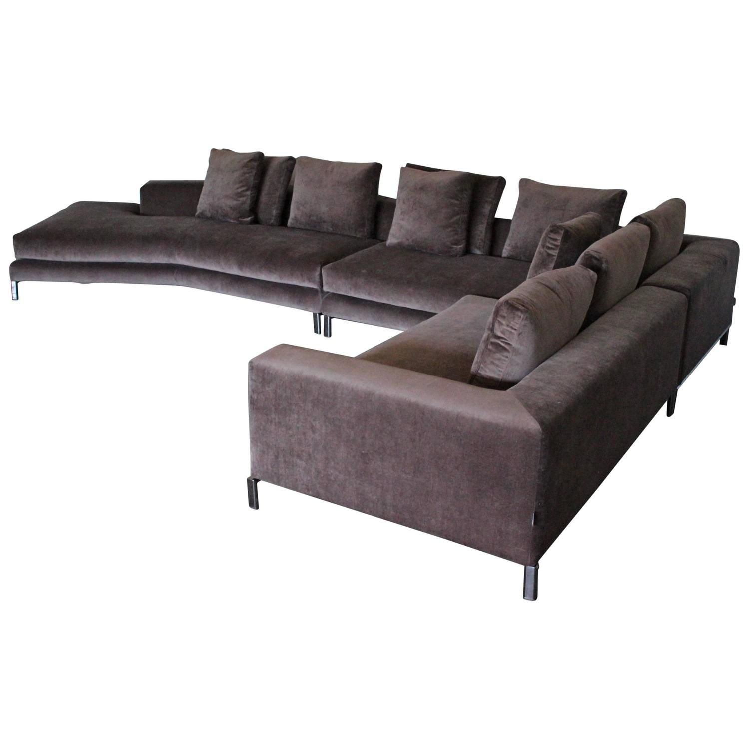 """Minotti """"Allen"""" Sectional L Shape Sofa in Taupe Brown Velvet by"""