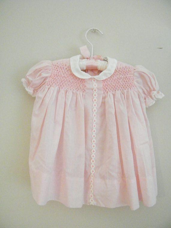 46639bcfac1 Vintage 1960s Baby Dress / Pink Smocking / 18 Months | Vintage baby ...