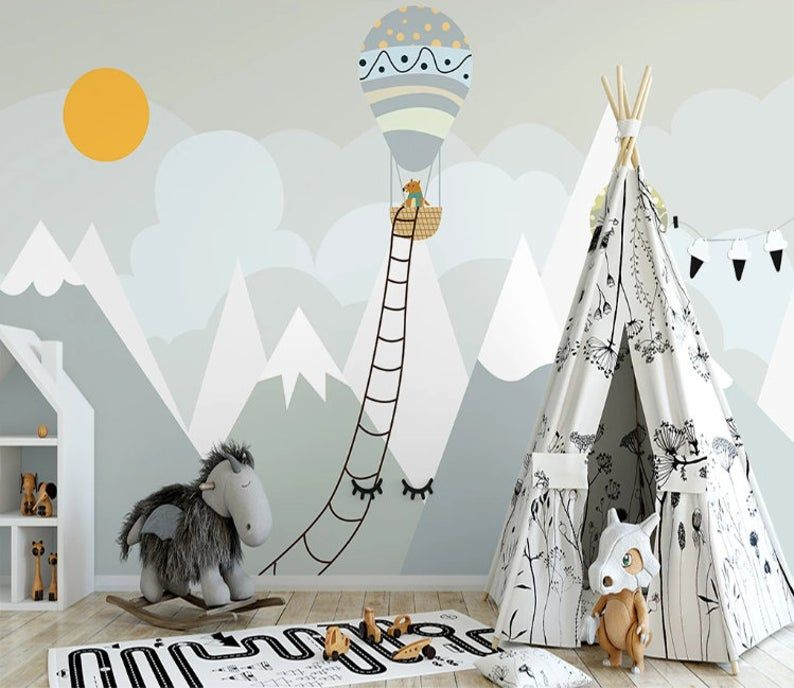Photo of Fabric Peel and Stick Removable Gray mountain with Balloons  wall mural, Re-positionable, Reusable f