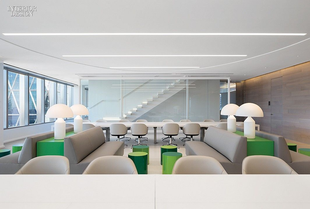 James Turrell Enlivens NYC Office by Lee Mindel and A+I | Vico Magistretti designed the lamps in the cafe. #design #interiordesign #interiordesignmagazine #projects #offices #NYC