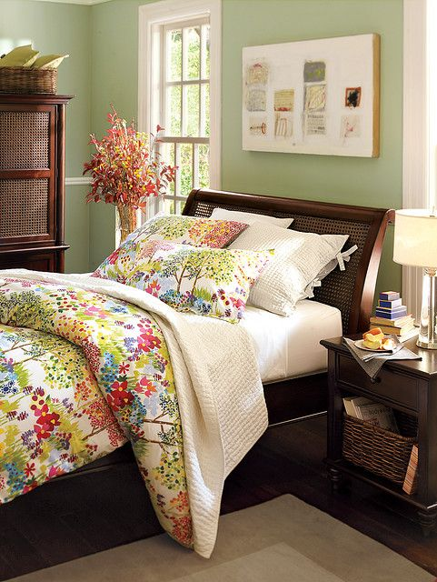 Pottery Barn Bedroom With Benjamin Moore Misted Fern By