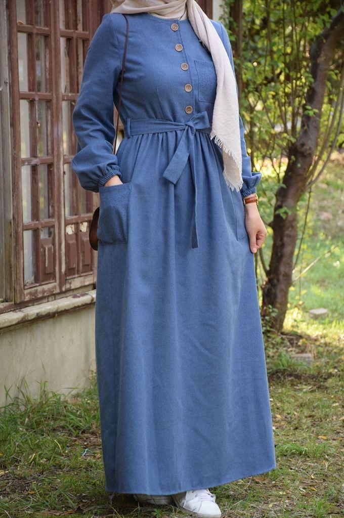 Mavi Renk Elbise Eminos Butik Muslim Fashion Dress Muslim Fashion Muslim Fashion Outfits