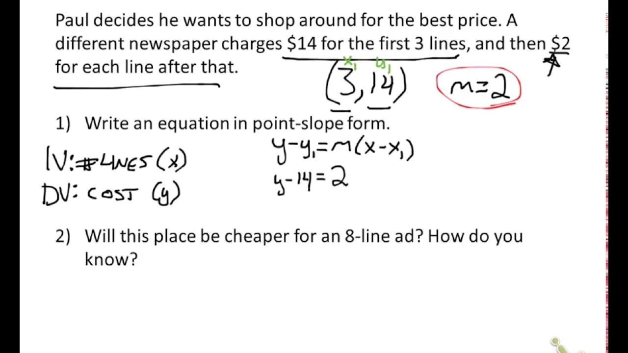 Point Slope Intercept Form Answer Now Is The Time For You To Know The Truth About Point Slop Word Problems Word Problem Worksheets Point Slope Form