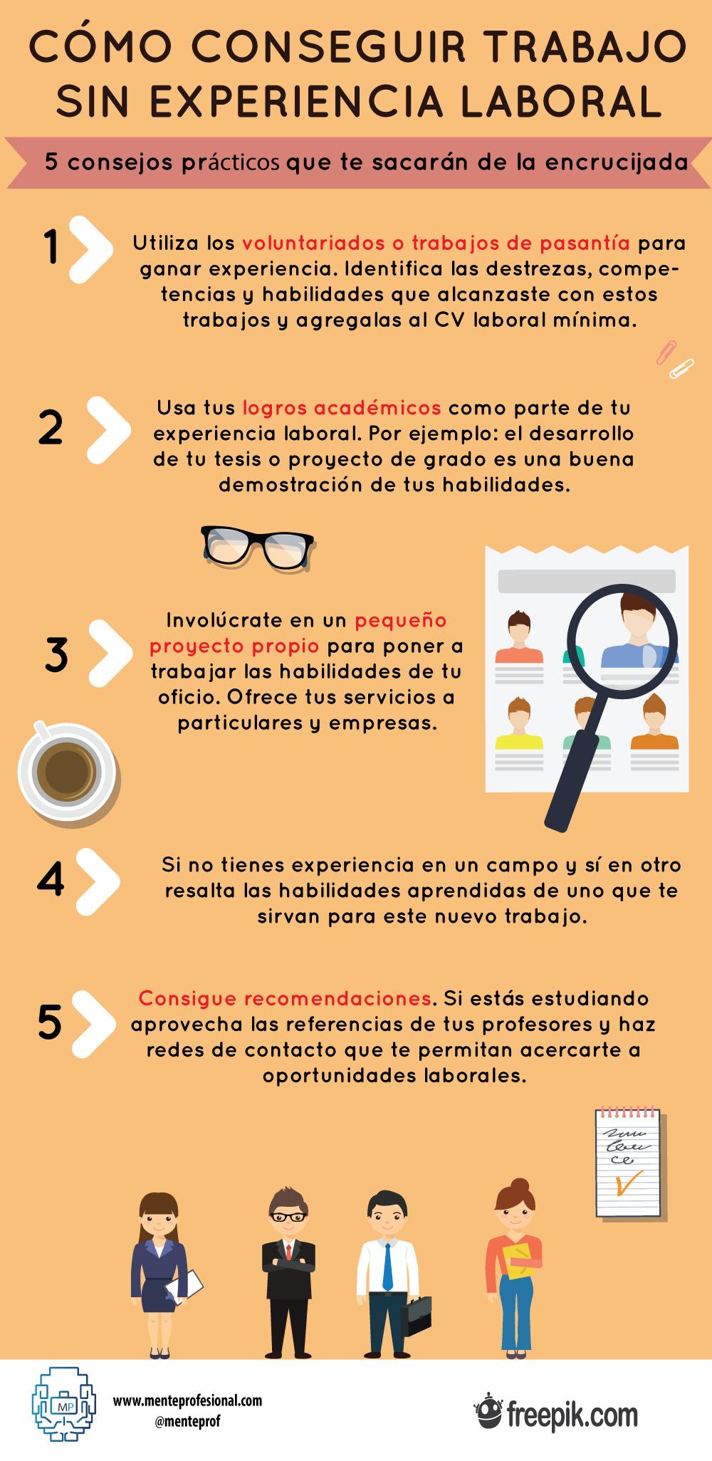 Conseguir trabajo sin experiencia laboral #infografia #infographic ...