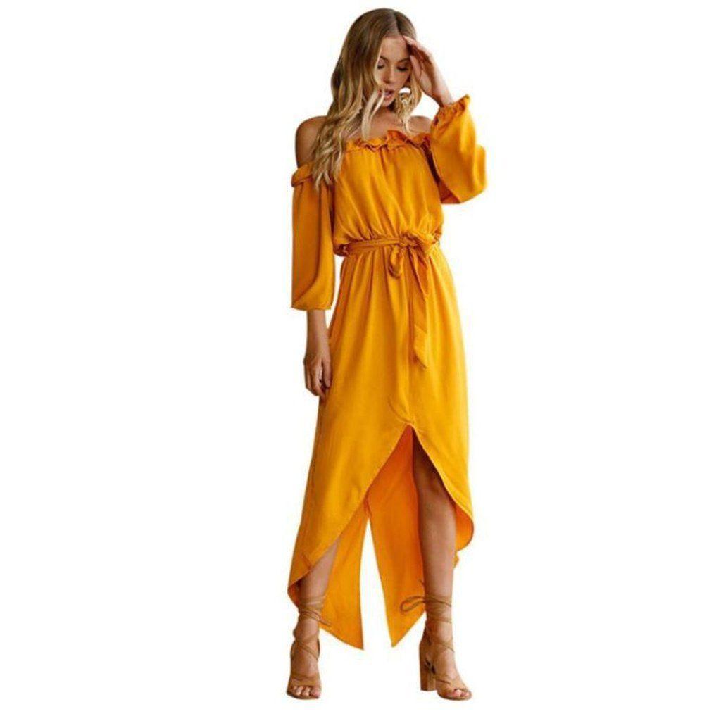 Farah off shoulder asymmetrical back slit dress products