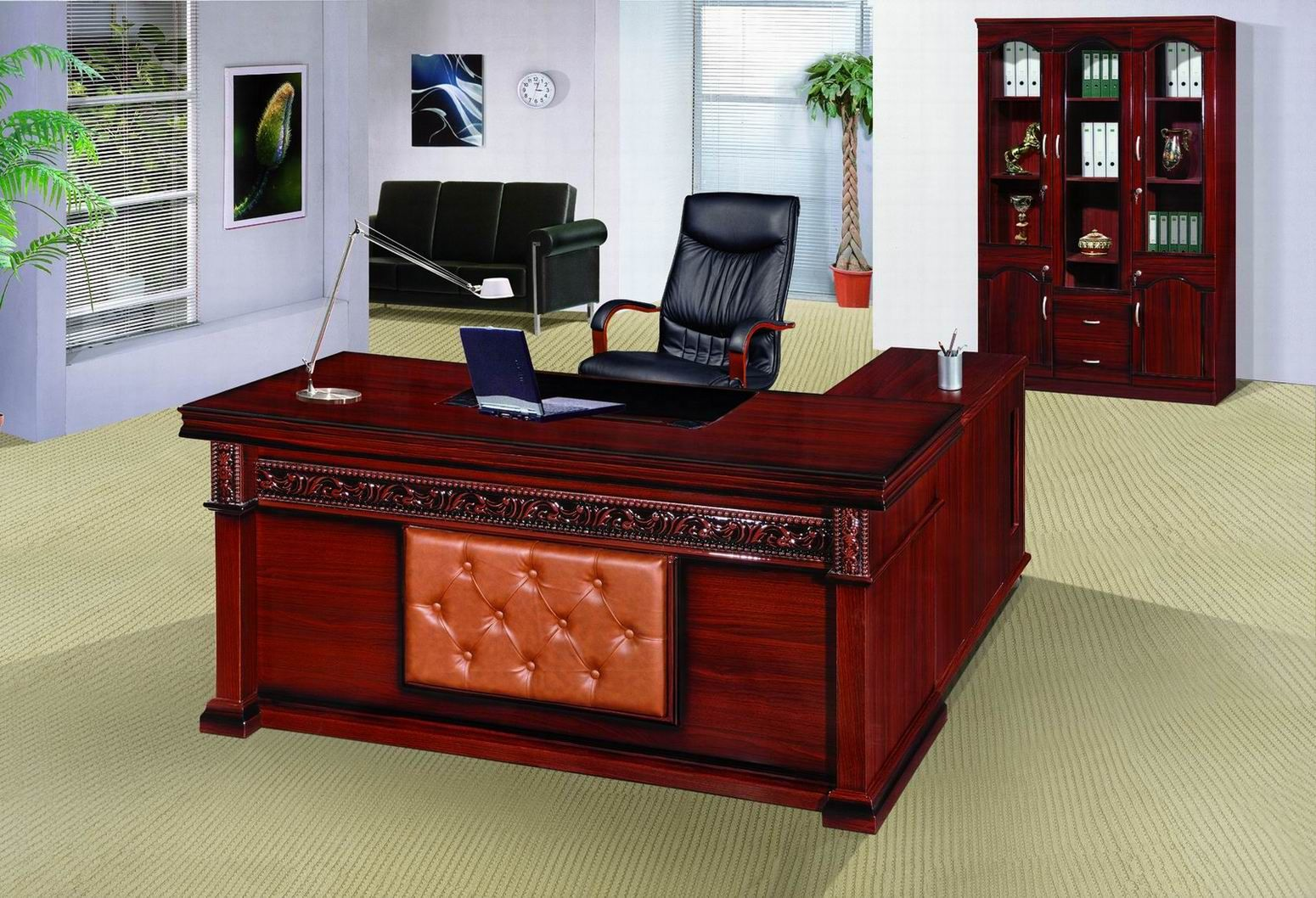 Royal Office Table Accessories With Modern Lamp And Netbook Also Elegant