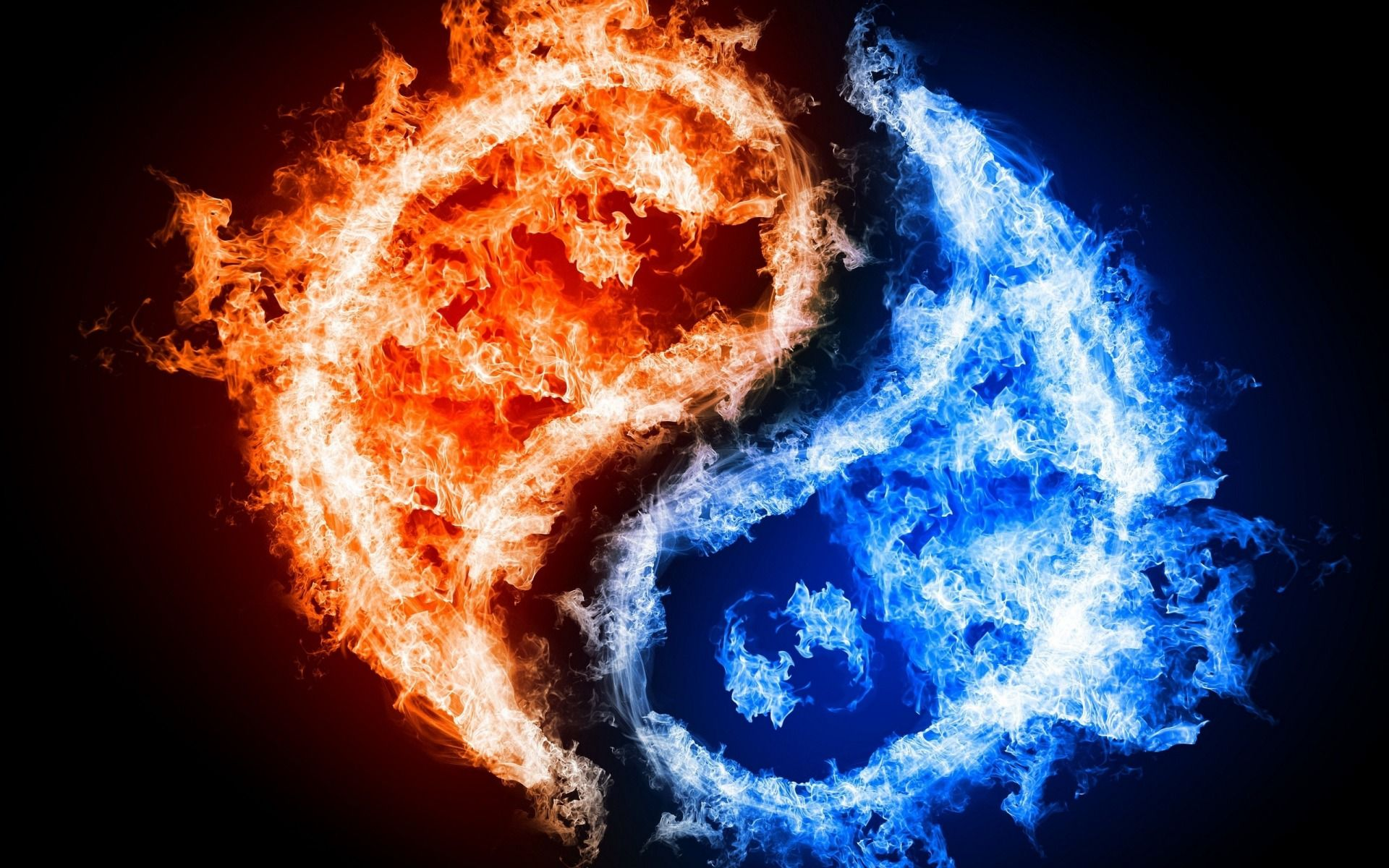 blue and red fire wallpaper decorate your desktop