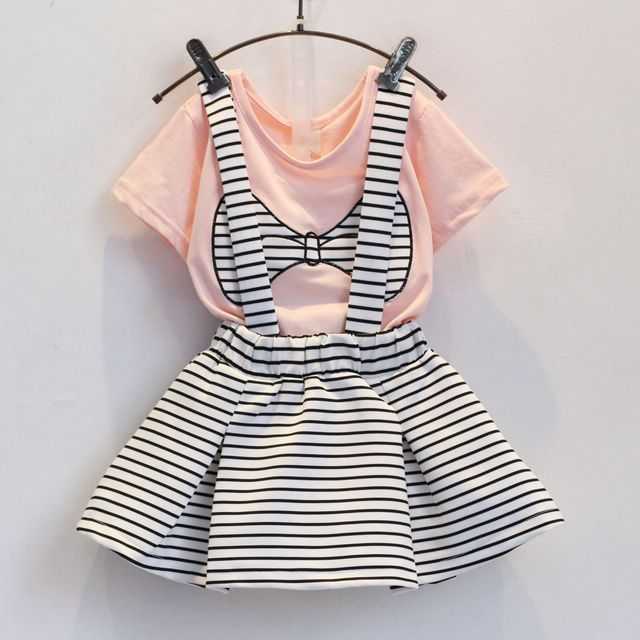 091ddb4e4d1 Fashion Summer Children Clothing Sets Kids Girl Boutique Outfits Embroidery  Bow Short Sleeve Cotton Tops Striped Skirt Suits