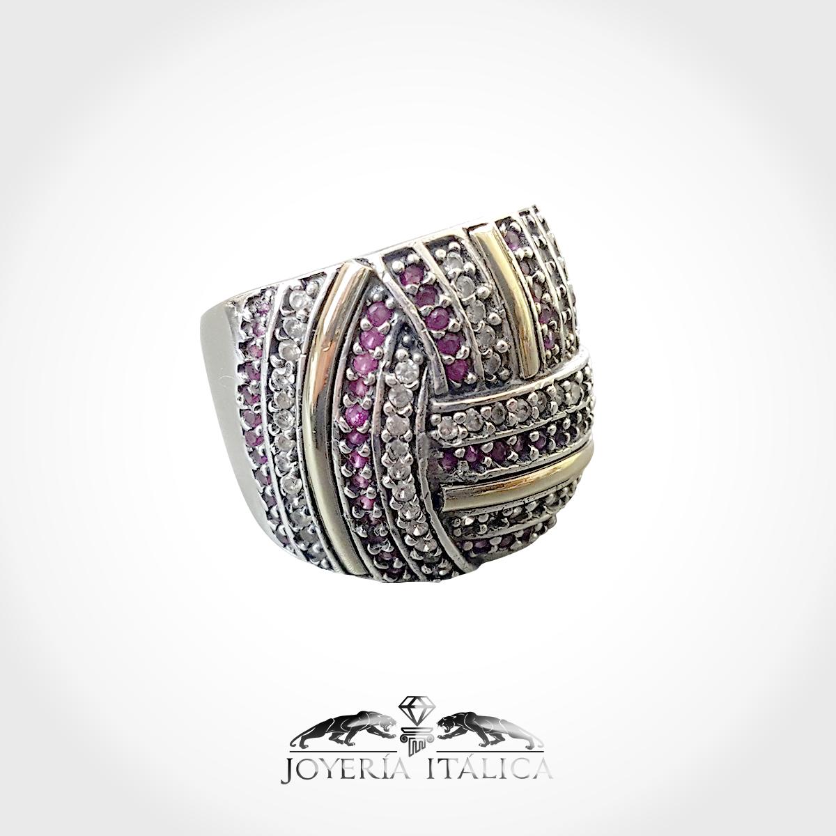 a85a3ec5359b Anillo para mujer en oro 14k y plata 925 con diamantes y ruby simulación.