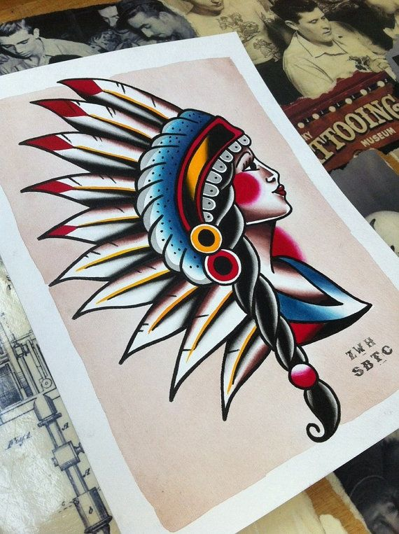 6cc616634 Traditional Tattoo Flash Indian Head Pinup Girl by zhendlmyer, $10.00