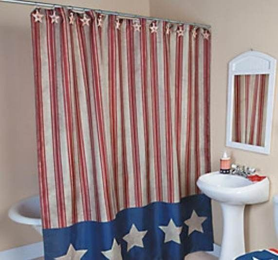 Fabric Shower Curtain Americana Red White Blue Stars N Stripes