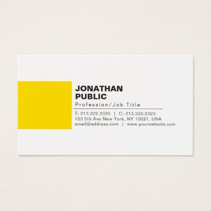 Professional Elegant Creative White Yellow Plain Business Card Zazzle Com Business Cards Elegant Business Cards Beauty Business Card Minimalist