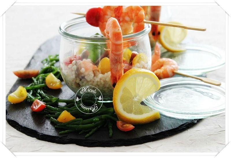 Salade d'orge perlé aux crevettes, basilic, citron, anchois et tomates.....