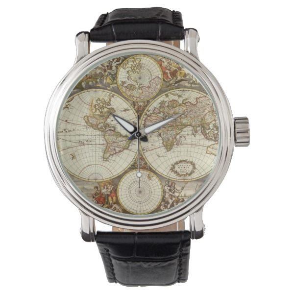 Antique World Map Leather Wrist Watch Vintage Two Hemispheres Map