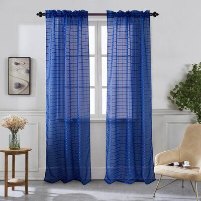 Ebern Designs Viviano Solid Color Sheer Rod Pocket Curtain Panels