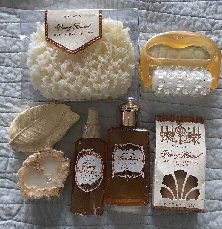 Body Nature Honey Almond Bath Soap Lotion Shower Gel Candle Sponge 7 Items Bodynature Gel Candles Bath Soap Shower Gel