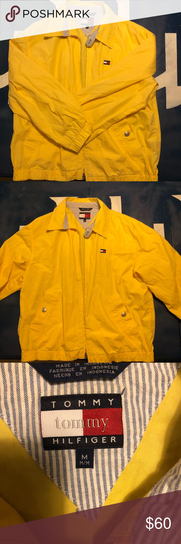 Vintage Tommy Hilfiger Yellow Zip Up Made in Indonesia 100