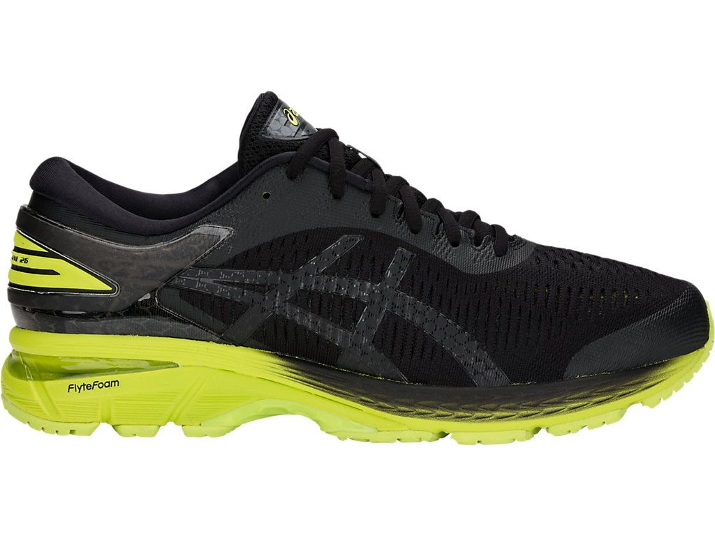Men S Gel Kayano 25 Black Neon Lime Running Shoes Asics In 2020 Running Shoes For Men Best Running Shoes Running Shoes