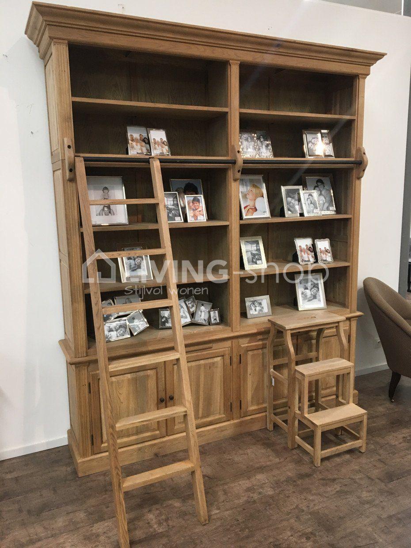 Uitgelezene Kwaliteitsvolle Eiken bibliotheekkast met ladder in de landelijke IA-85