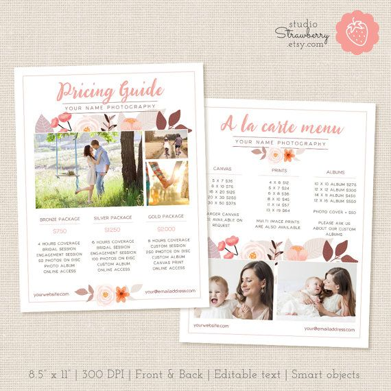 Photographers Price List Template Floral by StudioStrawberry - price list template