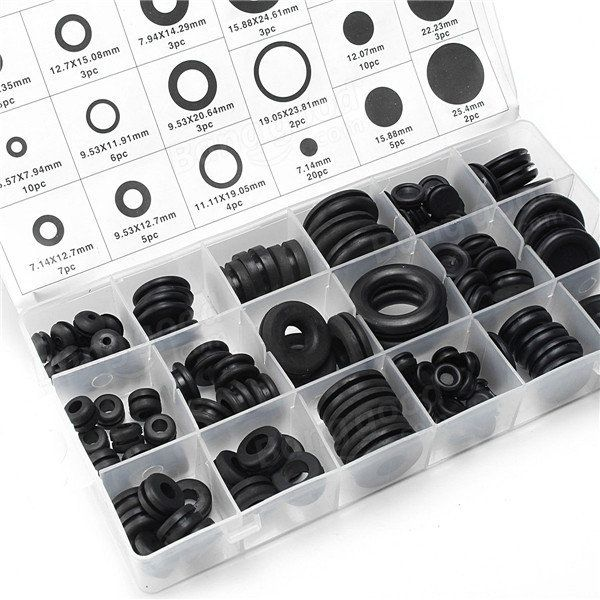 125Pcs Black Rubber Grommet Seals Washer O-Ring Waterproof Ring ...