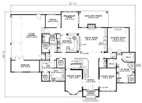 European Style House Plan 4 Beds 4 Baths 4488 Sq Ft Plan 17 524 Home Design Floor Plans Floor Plans Contemporary House Plans