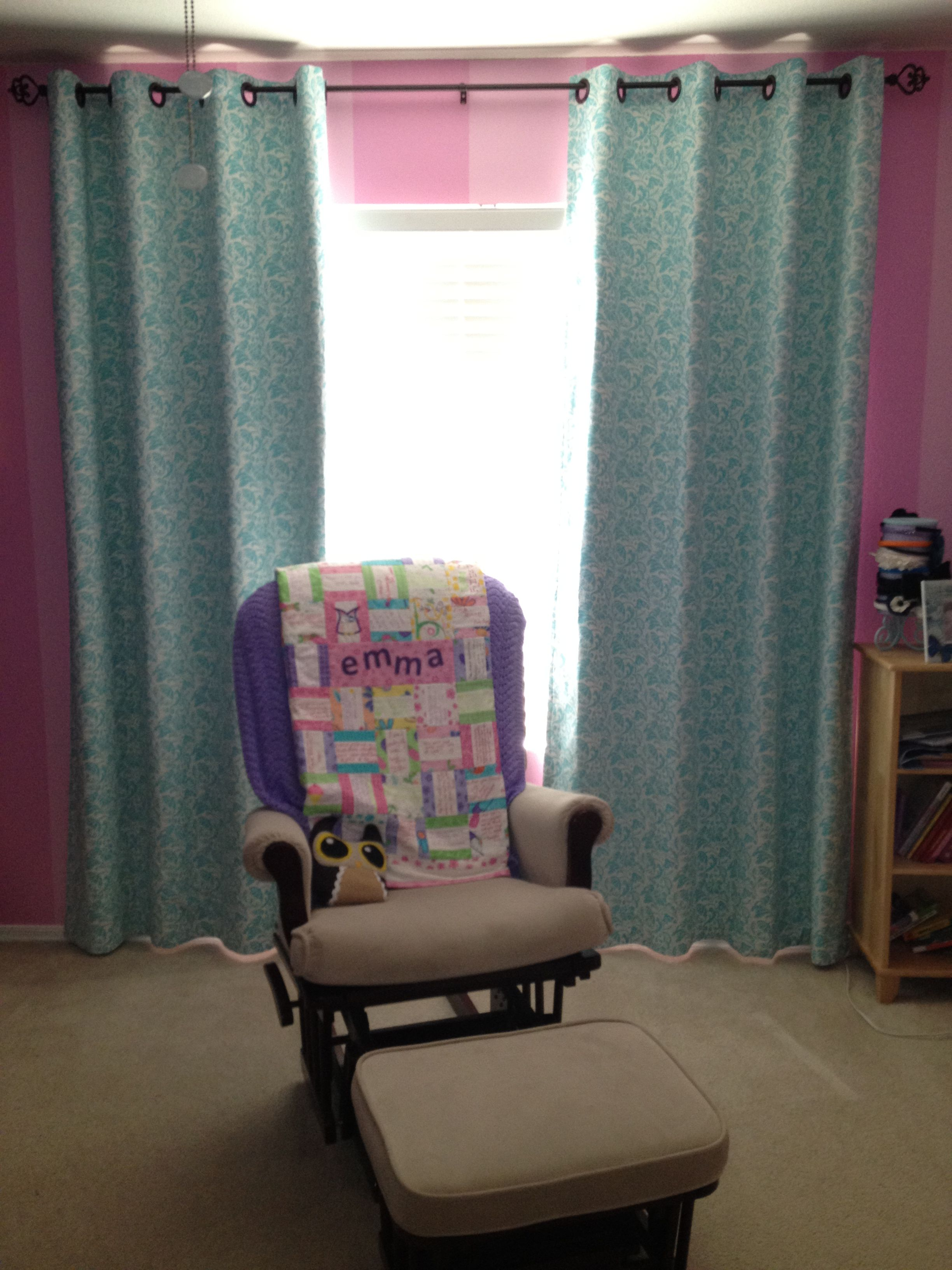 Weekend project completed!!!! Blackout curtains for my girls room!!! Thank you mom and Aunt Sharon!!!!!