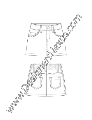 Childrenswear Tech Design Flat Sketch 5 Pocket Skirt With Studded Pockets V9 Free Download And Mor Flat Sketches Kids Boutique Clothing Fashion Model Drawing