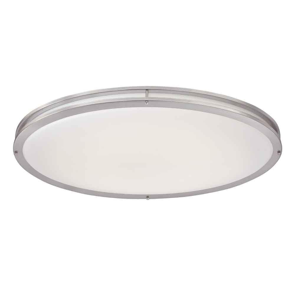 Bathroom Ceiling Light Fixtures Home Depot: Hampton Bay Brushed Nickel LED Oval Flush Mount-DC032LEDB