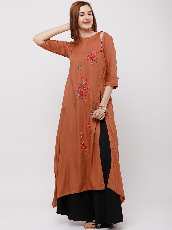 6463e275a Buy Vishudh Women Rust Embroidered A Line Kurta - Kurtas for Women 6603454