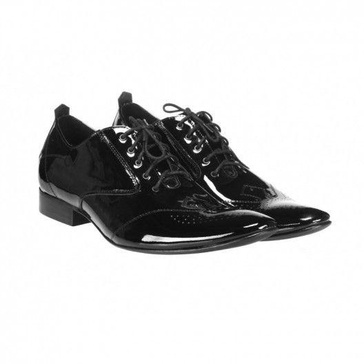 d72b240ecf7f Elegantní pánské kožené lakované boty černé barvy COMODOESANO - manozo.cz