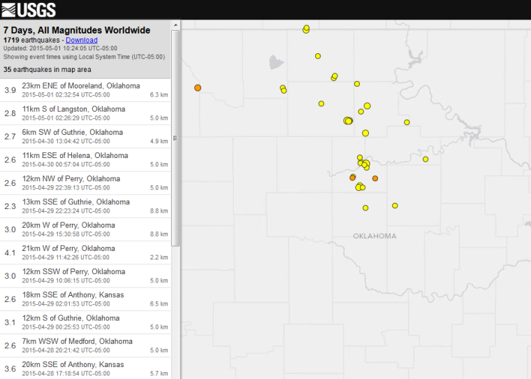 3 9 magnitude earthquake recorded today in Oklahoma Earthquake Today