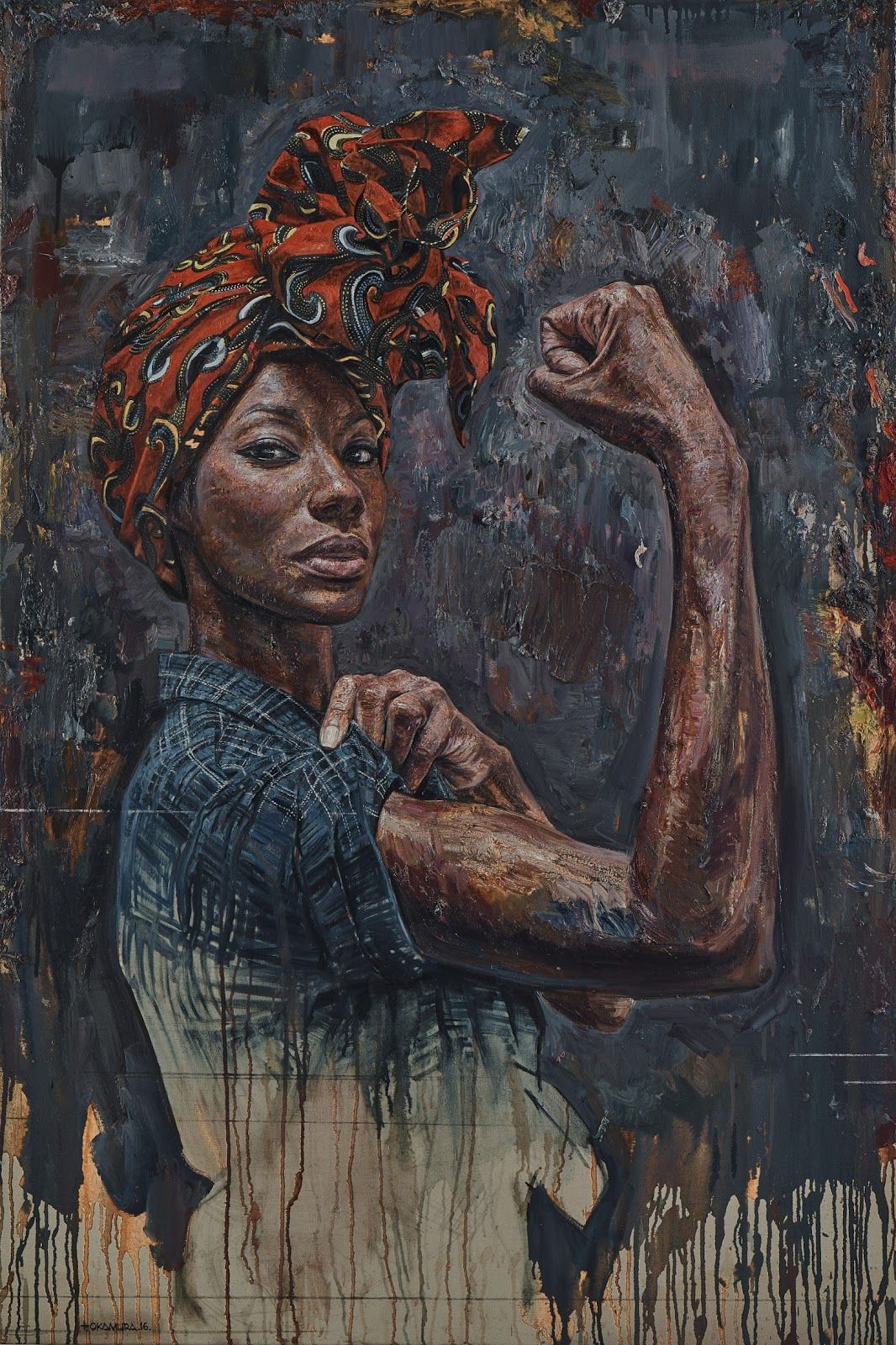 1968 oil on canvas board 2014 figurative art strong female standing african american black woman grunge painting detail drips loveart timokamura com