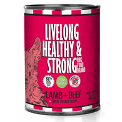 LiveLong Healthy Strong Lamb Beef Sweet Potato Canned Dog Food. Our Lamb + Beef + Sweet Potato Dog Food is made with nutrient packed meats from Lamb and Beef; this combination brings the best of both meats, high digestibility, with essential proteins, amino-acids, and many more health benefits for your treasured pet. Lamb & Beef are also a good alternative for dogs who have been accustomed to eating only Chicken foods.