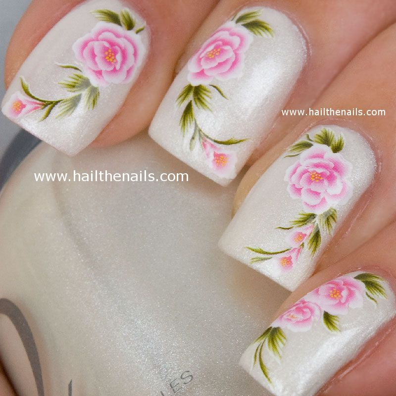 English Tea Rose Nail Nails Art Water Transfer Decal Pink YD20 ...