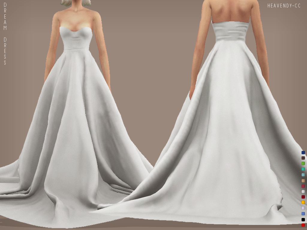 Heavendy Cc Heavendy Cc Dream Dress New Mesh 10 Swatches All Lods Base Game Compatible Tag Ma As Heave In 2020 Sims 4 Wedding Dress Sims 4 Dresses Sims 4