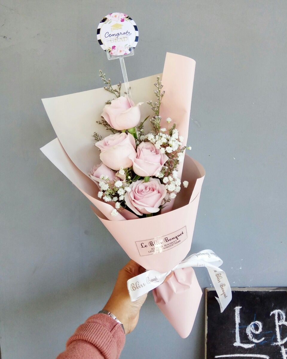 Throwback To Our One Of The Best Seller For Smallies Bouquet Pink Roses With Caspea And Gypsophila In Pink Pastel Ko Small Flower Bouquet Bouquet Diy Flowers