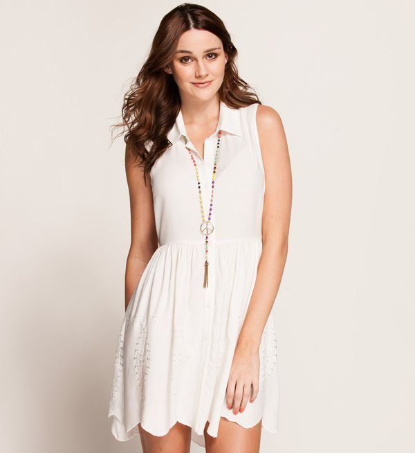white shirt dress + peace necklace = works