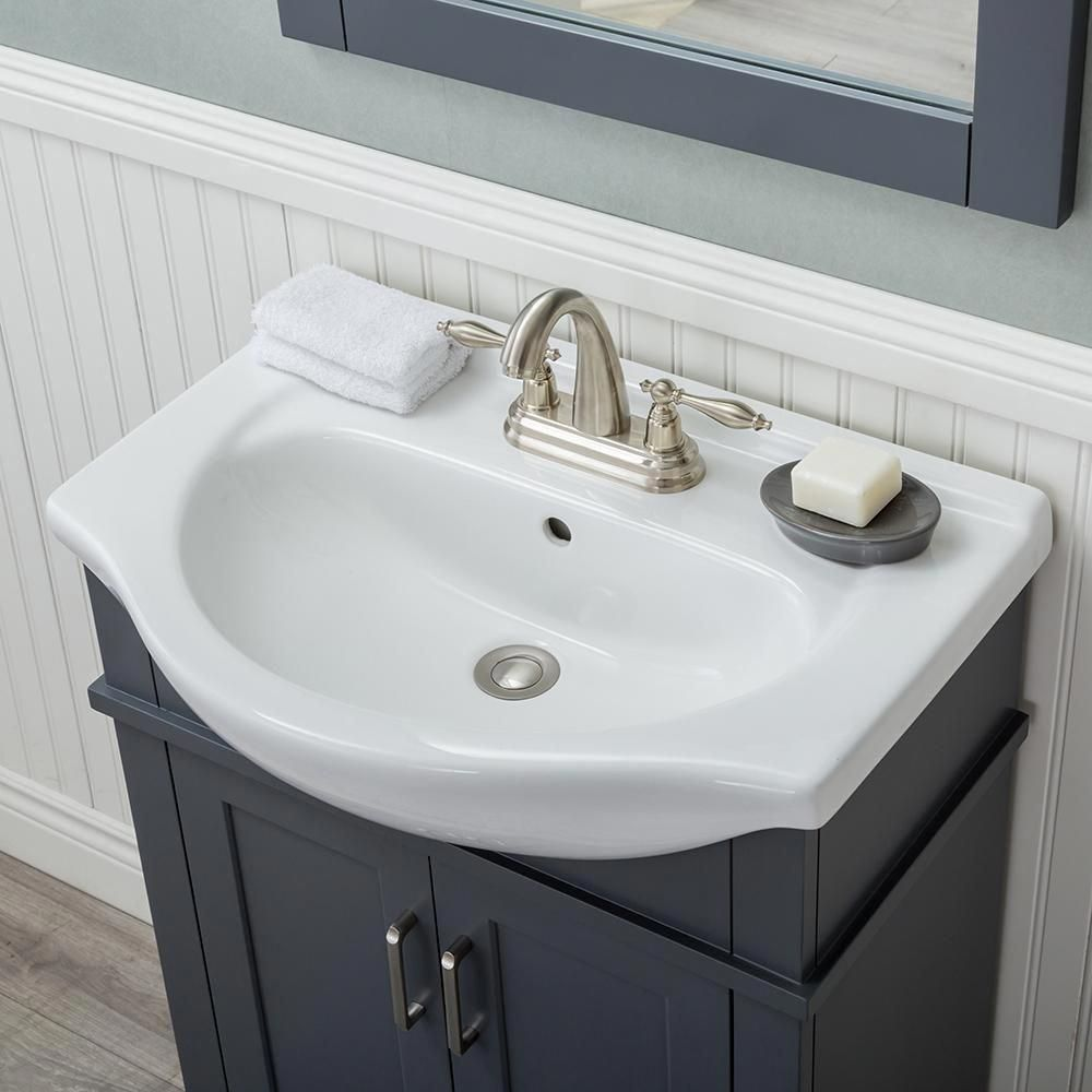 Lancaster 24 In W X 17 5 In D X 34 6 In H Bath Vanity In Gray