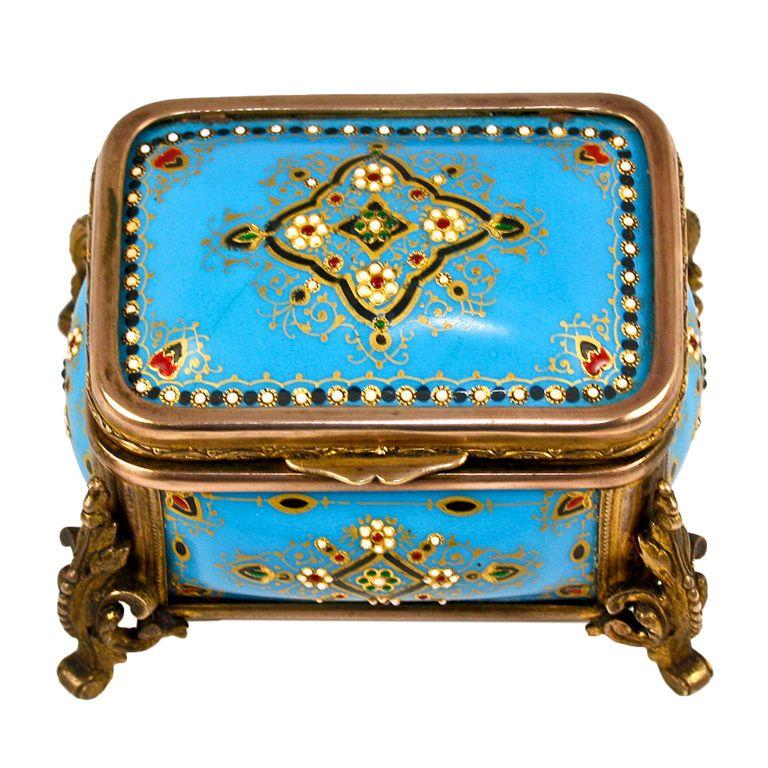 1stdibs   TAHAN+Antique+French+Kiln-Fired+Enamel+Blue+Jeweled+Jewelry+Box
