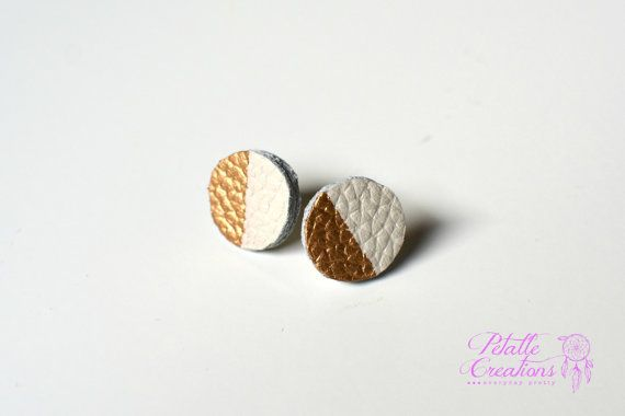 a28334283 Leather Stud Earrings leather studs painted by PetalleCreations ...