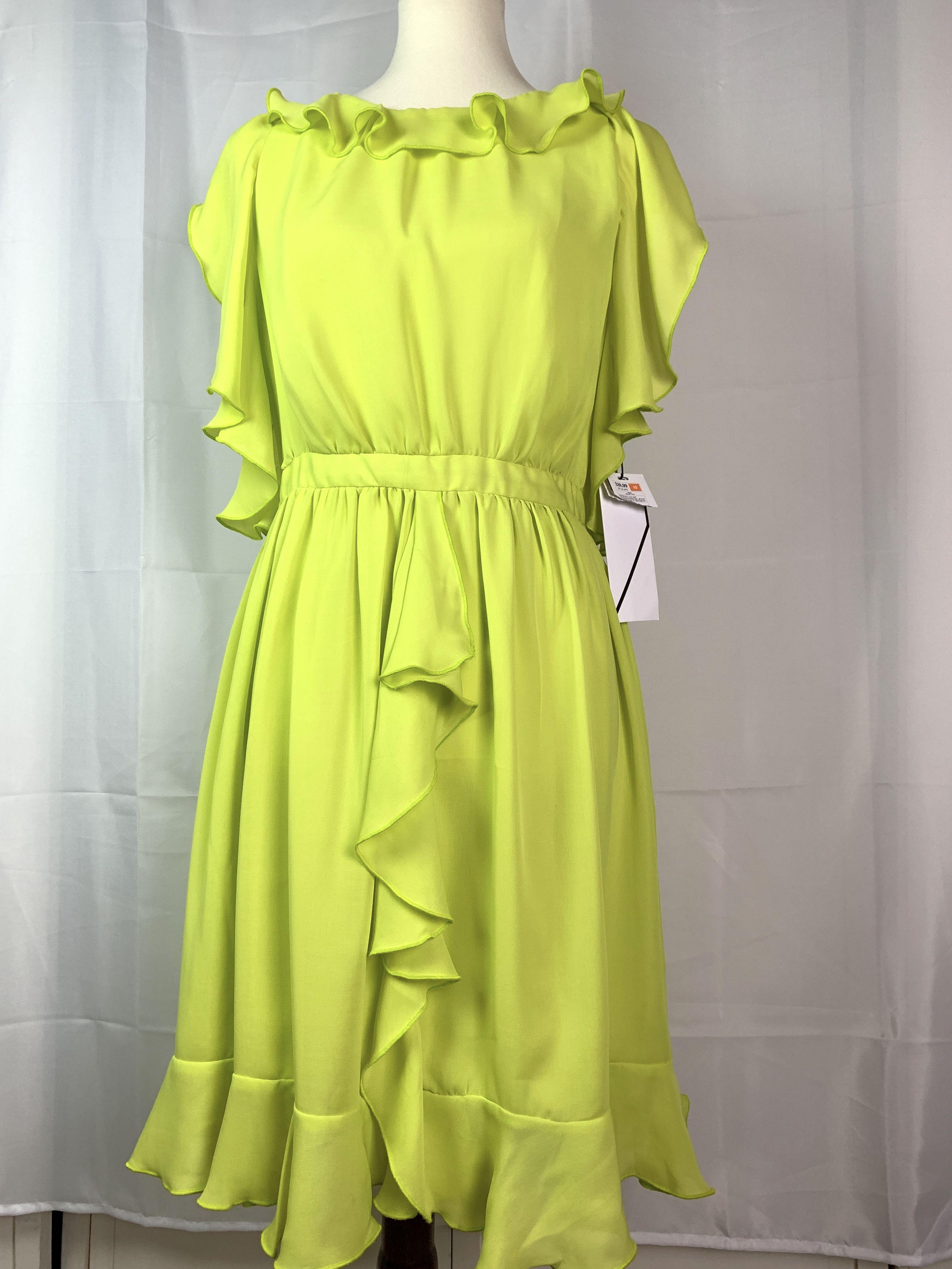 Prabal Gurung Dress Size 10 Neon Green Yellow Ruffle Sleeveless Target Designer Yellow Knee Length Dress Target Clothes Prabal Gurung Dress [ 4032 x 3024 Pixel ]