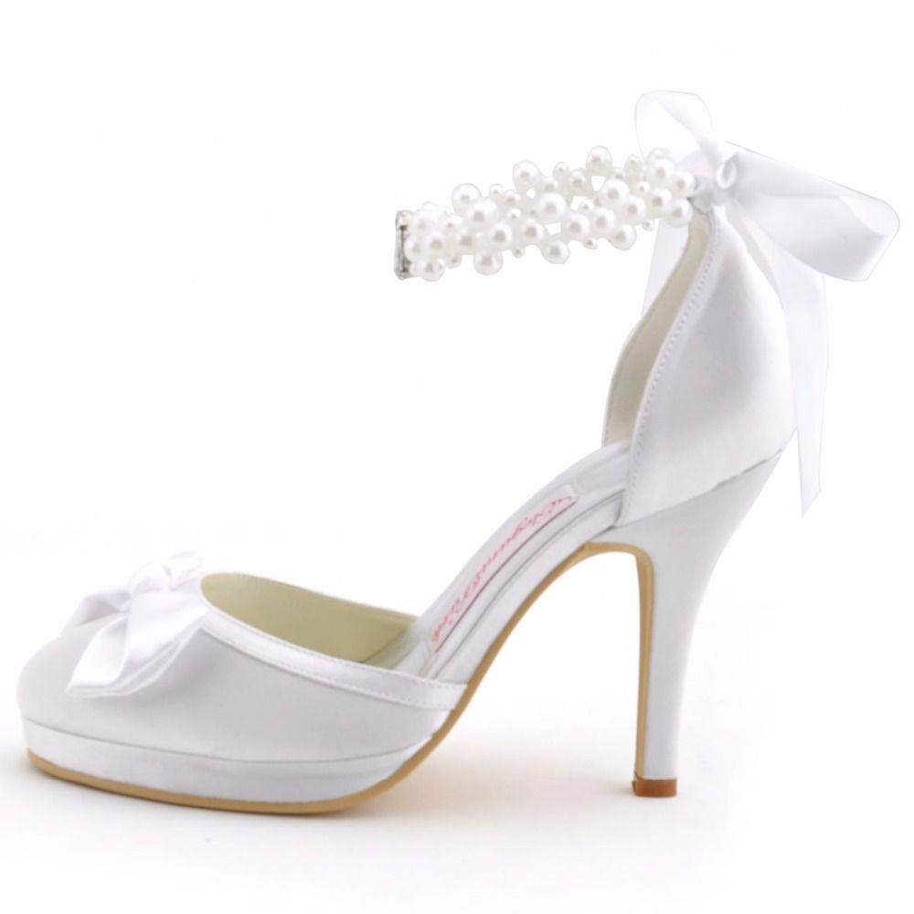 042c8a342 Woman High Heel Wedding Shoes White Ivory Round Toe Platform Pearls Ankle  Strap Bow Satin Lady Prom Evening Bridal Pumps EP11074 #wedding shoes  #Promheels