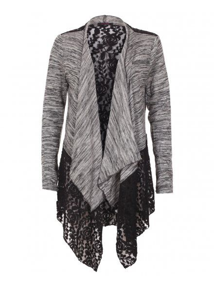 Blue Inc Woman Womens Black and Grey Lace Back Cardigan | Knit Up ...