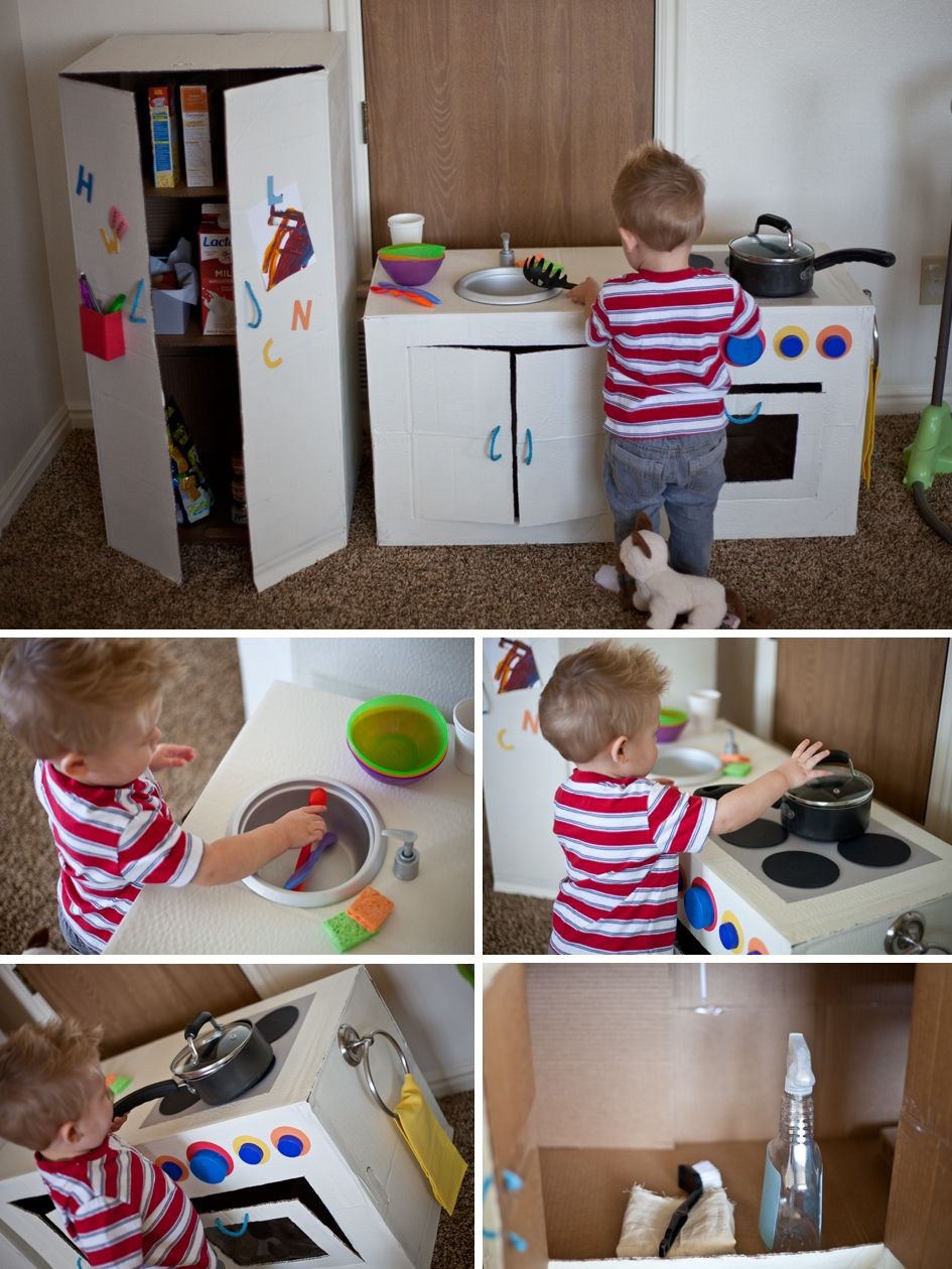 Play Kitchen From Cardboard Boxes I Love The Use Of A Page