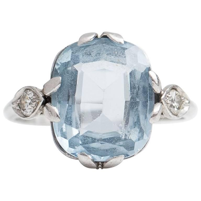1930s 3.5 Carat Aquamarine and Diamond Platinum Ring | From a unique  collection of vintage engagement