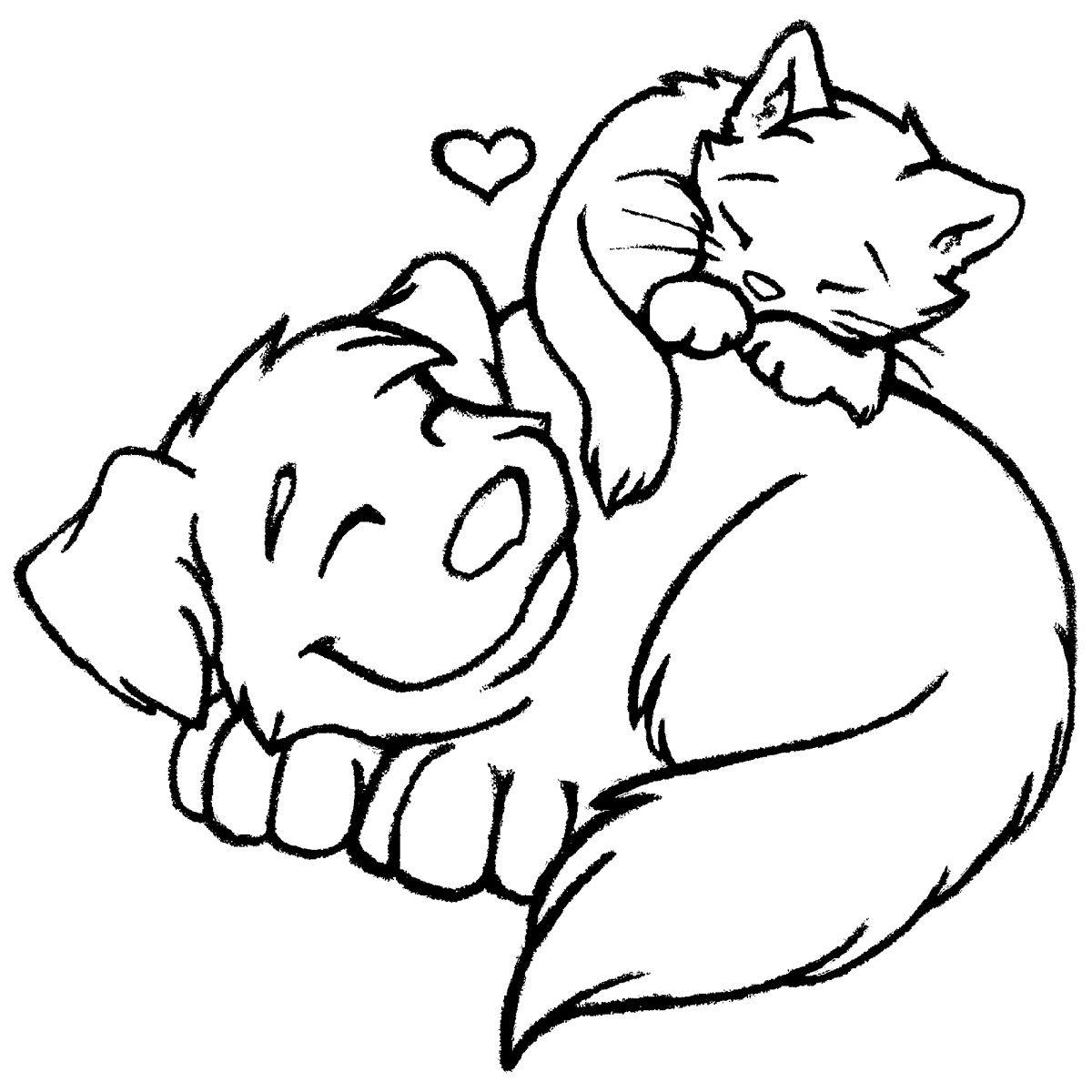 Cat Dog Friends Ausmalbilder Niedliche Zeichnungen Zeichnungen