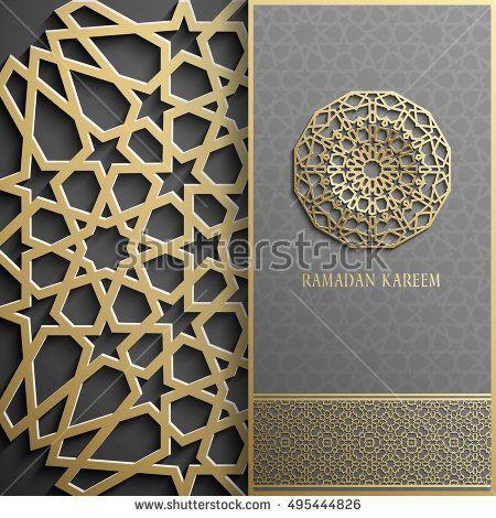 3d ramadan kareem greeting cardinvitation islamic stylearabic circle golden patterngold ornament on blackislamic brochure