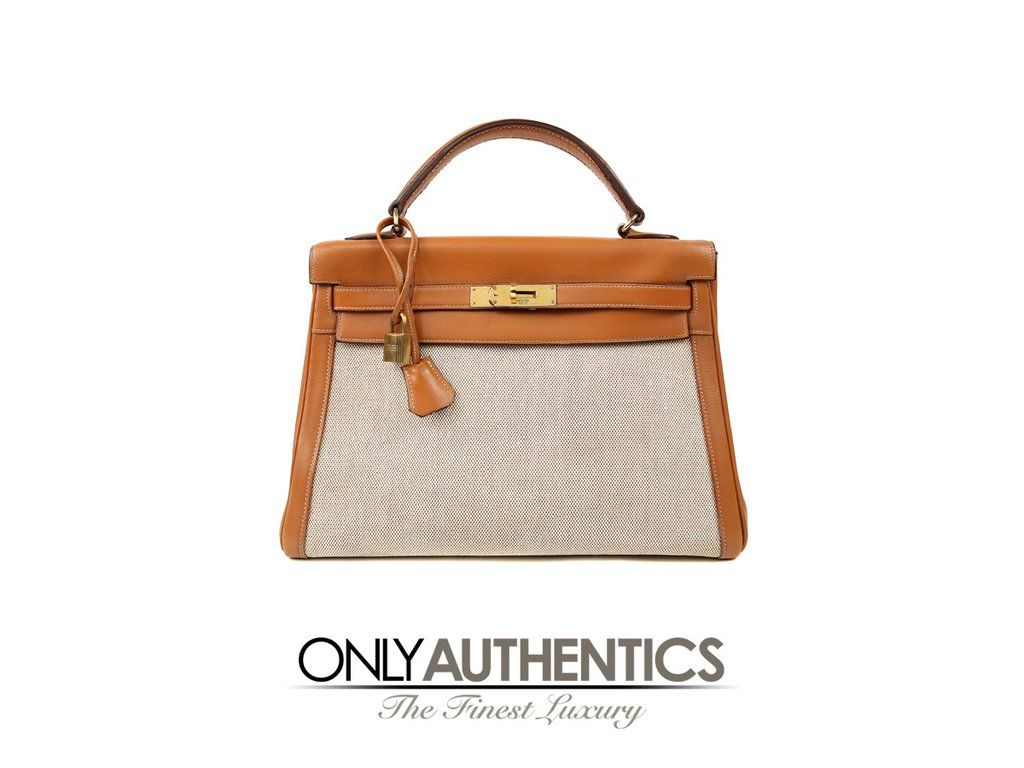 Hermes 32cm Kelly Gold Box Calf Leather with Toile  b0c5ed880c625