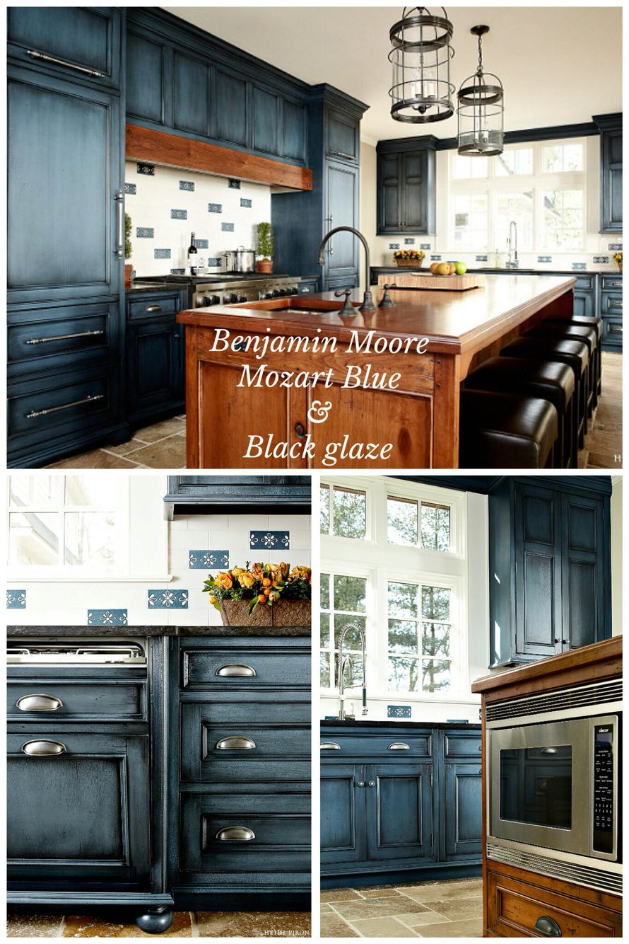 Benjamin moore mozart blue with black glaze done by for Dark blue kitchen paint